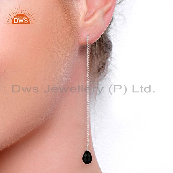 Suppliers BlackOnyx Dangle Sui Dhaga Pattern White Rhodium Wholesale Silver Earring