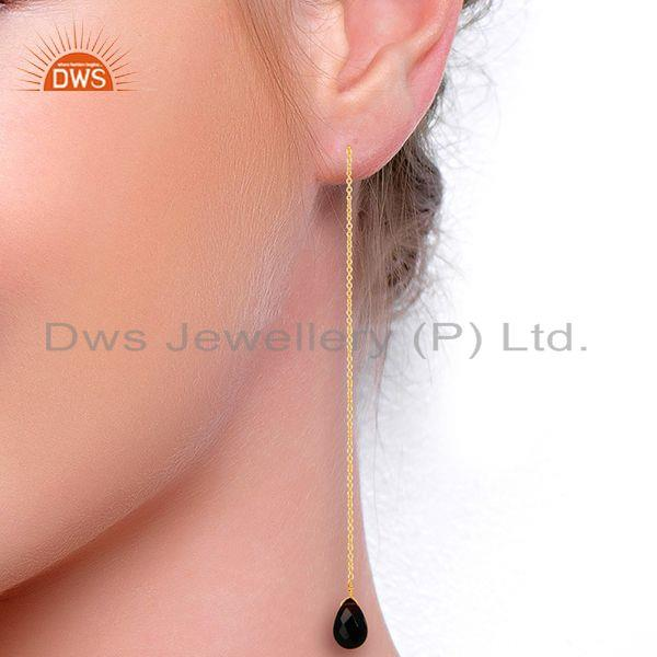 Suppliers Black Onyx Threaded Earring 14K Gold Plated 92.5 Sterling Silver Earring