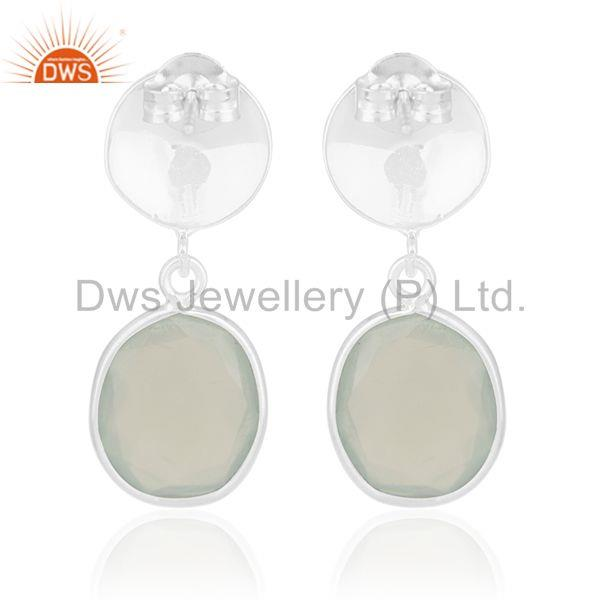 Suppliers Indian Handmade 92.5 Silver Chalcedony Gemstone Drop Earrings Manufacturer india
