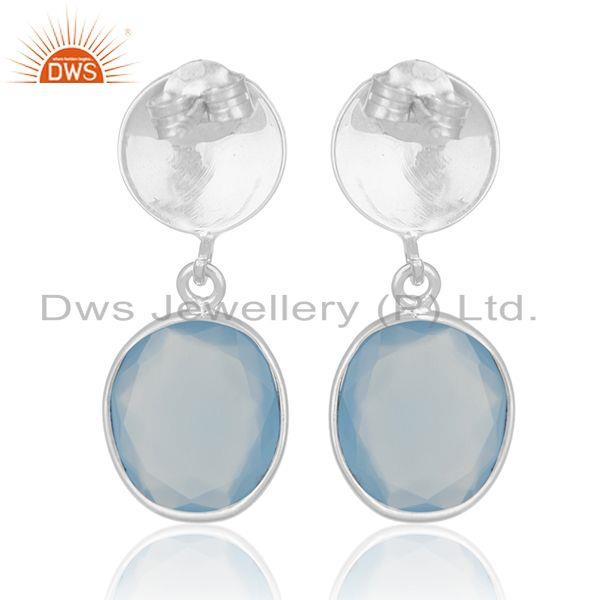 Suppliers Handmade 925 Sterling Silver Blue Chalcedony Gemstone Earring Wholesale India