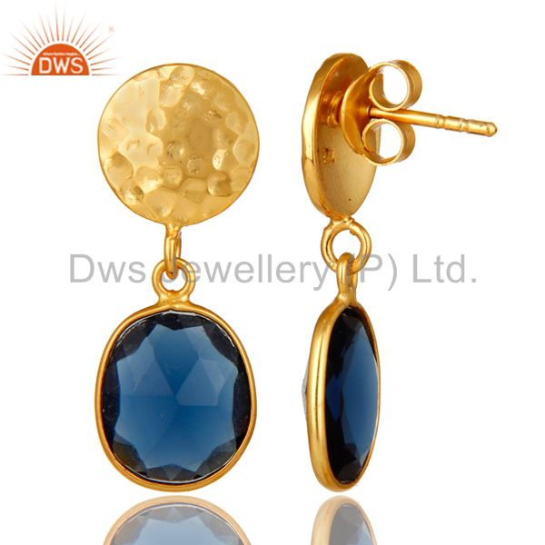 Suppliers 14K Yellow Gold Plated Sterling Silver Blue Corundum Bezel Set Dangle Earrings