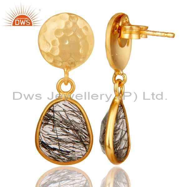 Suppliers 22K Yellow Gold Plated Sterling Silver Black Rutilated Quartz Bezel Set Earrings