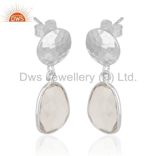 Suppliers Crystal Quartz Sterling Silver Simple Earring Jewelry Manufacturer for Designers