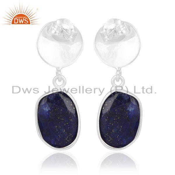Suppliers Lapis Lazuli Gemstone Silver Earrings Custom Jewelry Manufacturer for Designers