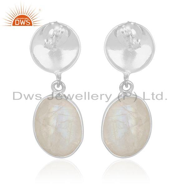 Suppliers Rainbow Moonstone Silver Earrings Jewelry Manufacturer for Designers from India