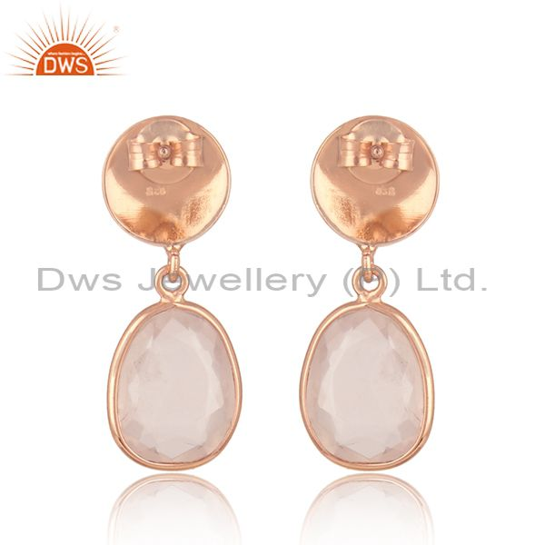 Suppliers Handmade Rose Gold Plated Silver Rose Quartz Gemstone Earrings Jewelry