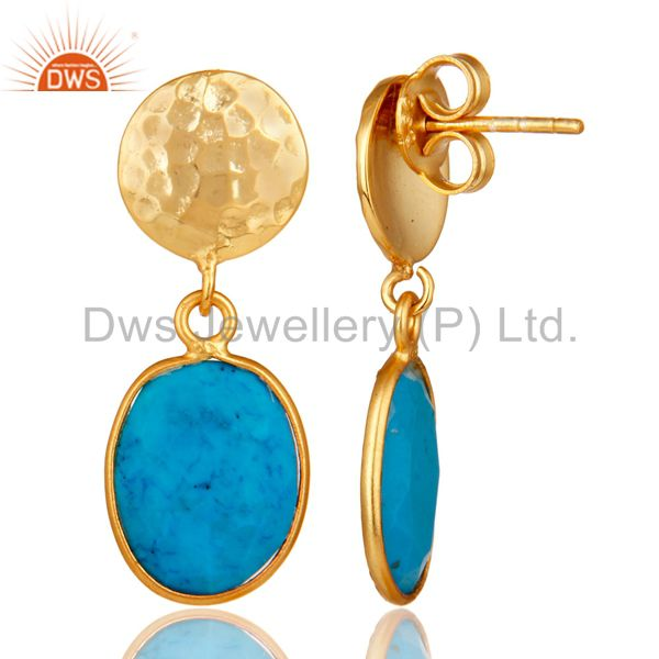 Suppliers Yellow Gold Plated Sterling Silver Turquoise Cultured Bezel Set Dangle Earrings