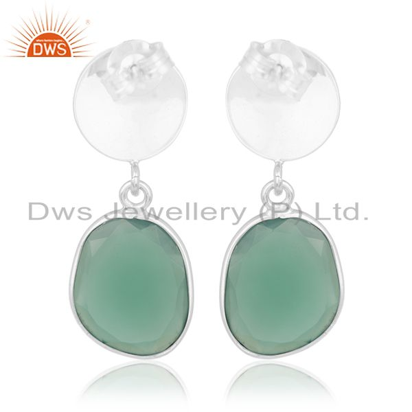 Suppliers Green Onyx Gemstone Silver Earrings Private Label Jewelry Manufacturer India
