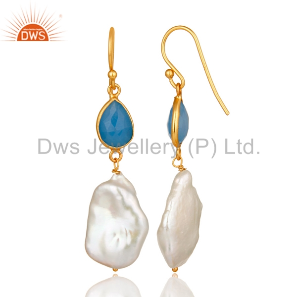 Suppliers 22K Yellow Gold Plated Sterling Silver Blue Chalcedony And Pearl Drop Earrings