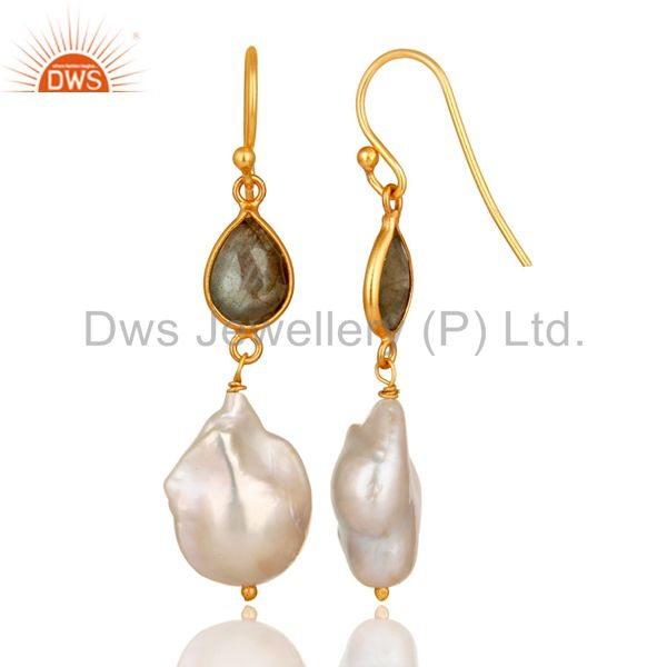 Suppliers 22K Yellow Gold Plated Sterling Silver Labradorite And Pearl Drop Earrings