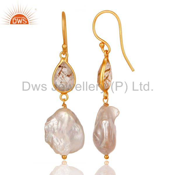 Suppliers 22K Yellow Gold Plated Sterling Silver Yellow Rutile And Pearl Drop Earrings