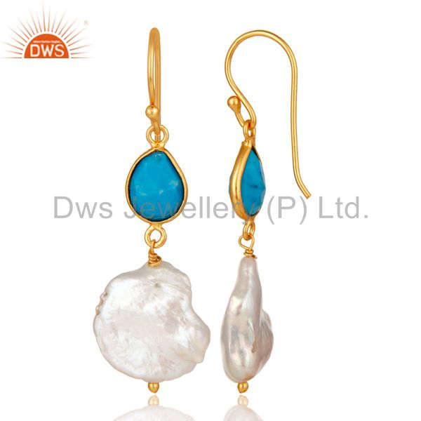 Suppliers Turquoise and Pearl 22K Yellow Gold Plated Sterling Silver Drop Earrings