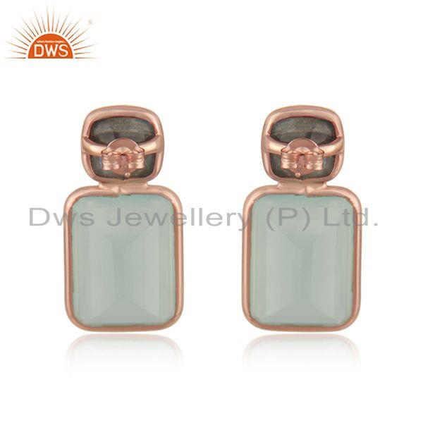 Suppliers Rose Gold Plated Silver Labradorite Aqua Chalcedony Earring Jewelry
