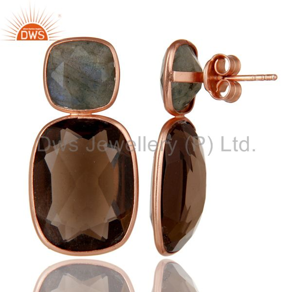 Suppliers 14K Rose Gold Plated Sterling Silver Labradorite And Smoky Quartz Earrings