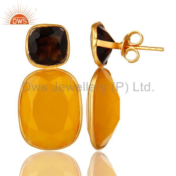 Suppliers 14K Gold Plated Sterling Silver Yellow Chalcedony And Smoky Quartz Earrings