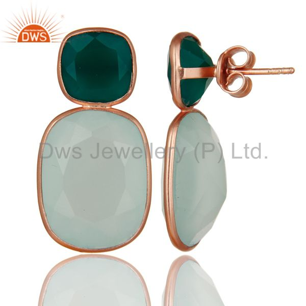 Suppliers 18K Rose Gold Plated Sterling Silver Green Onyx And Chalcedony Dangle Earrings