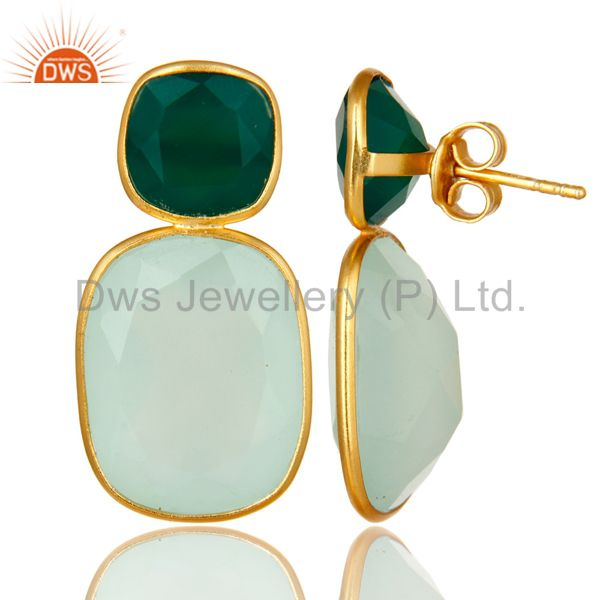 Suppliers 18K Yellow Gold Plated Sterling Silver Green Onyx And Chalcedony Dangle Earrings