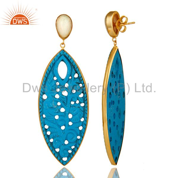 Suppliers 18K Yellow Gold Plated Sterling Silver Carved Turquoise And Opal Dangle Earrings