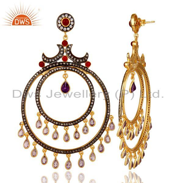 Suppliers Amethyst and Red Onyx 18K Gold Plated Sterling Silver Traditional Stud Earring