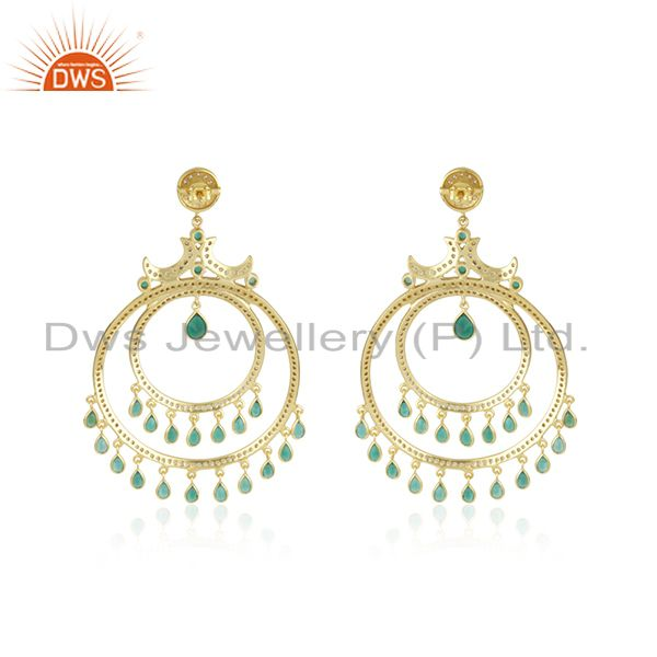 Suppliers Green Onyx and White CZ 18K Gold Plated Sterling Silver Traditional Stud Earring