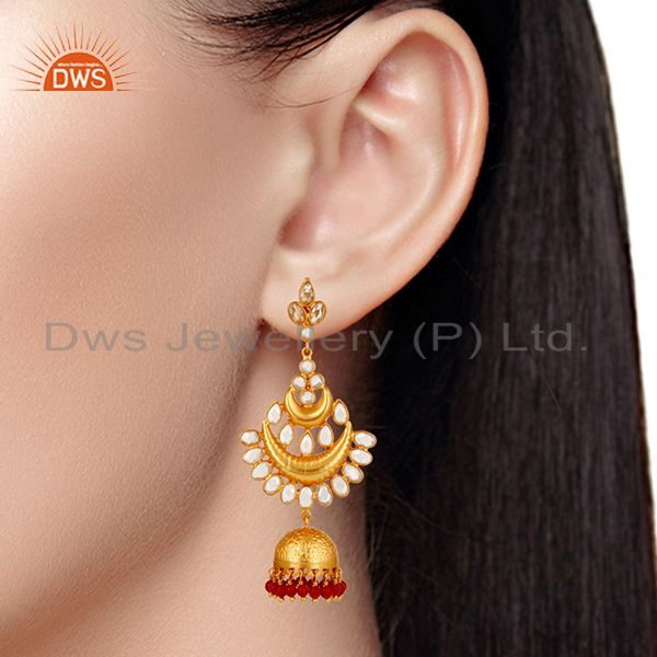 Suppliers Coral and Zircon 18K Gold Plated Sterling Silver Jhumka Earring