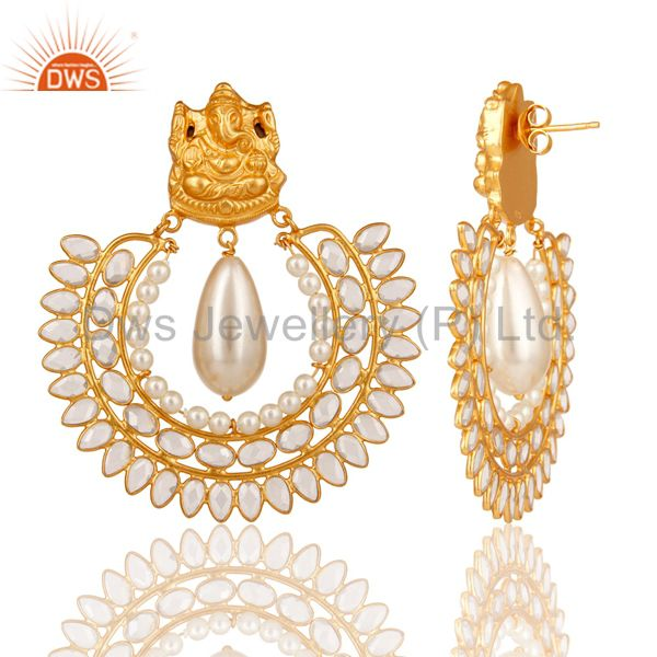 Suppliers 18K Gold Plated Sterling Silver Jhumki with Pearl and CZ Temple Earring