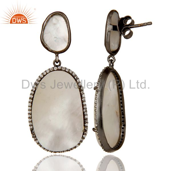 Suppliers Mother of Pearl MOP Black Oxidized Sterling Silver Drop Dangle Earring