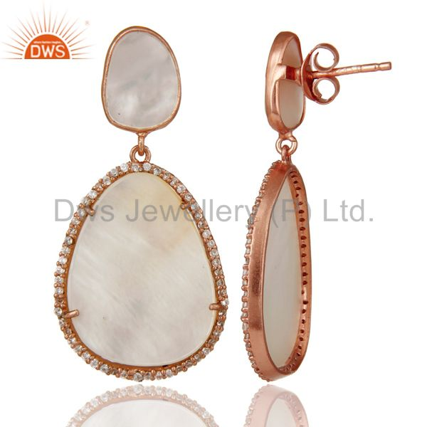 Suppliers Mother of Pearl MOP Rose Gold Plated Sterling Silver Drop Dangle Earring
