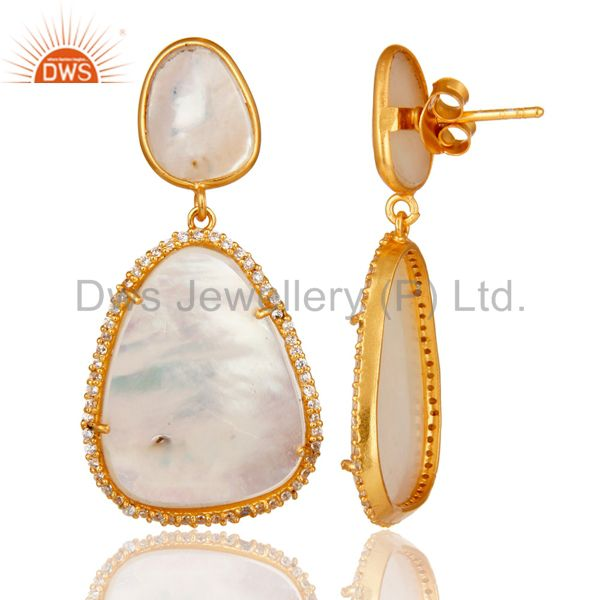 Suppliers Mother of Pearl MOP 18K Gold Plated Sterling Silver Drop Dangle Earring