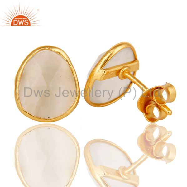 Suppliers White Moonstone Sterling Silver 18K Gold Plated Stud Earring