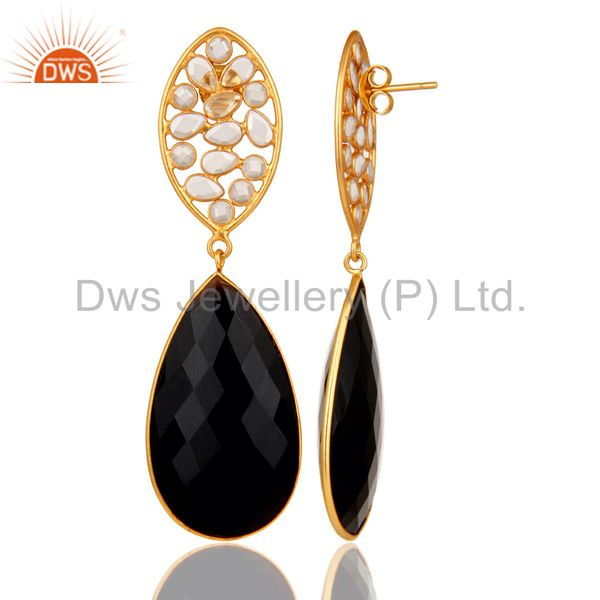 Suppliers Black Onyx and Zircon 18K Gold Plated Sterling Silver Dangler Earring