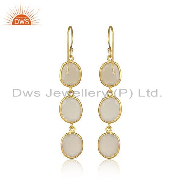 Designer of Yellow gold plated 925 silver white chalcedony handmade dangle
