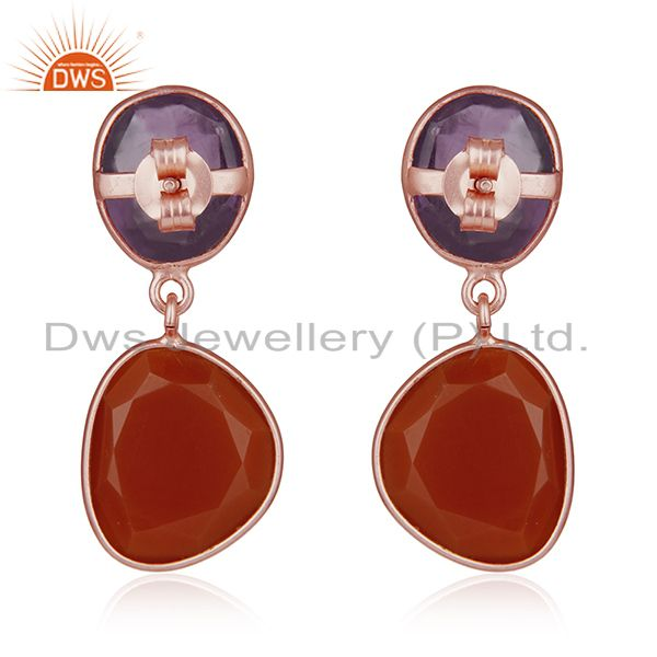 Suppliers Amethyst and Onyx Gemstone Rose Gold Plated Silver Drop Earrings Manufacturer