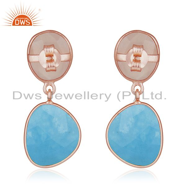 Suppliers Handmade Rose Gold Plated Sterling Silver Multi Gemstone Drop Earrings Jewelry