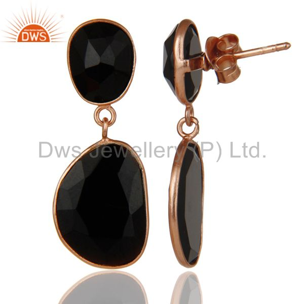 Faceted Black Onyx 18K Gold Plated Silver Handmade Drop Dangle Earring Manufacturer