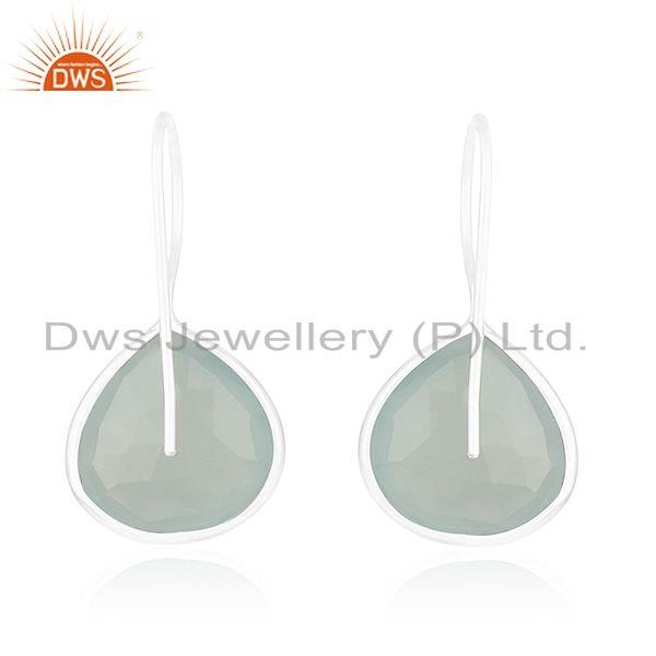 Suppliers Aqua Chalcedony Gemstone 925 Sterling Fine Silver Drop Earring Manufacturers