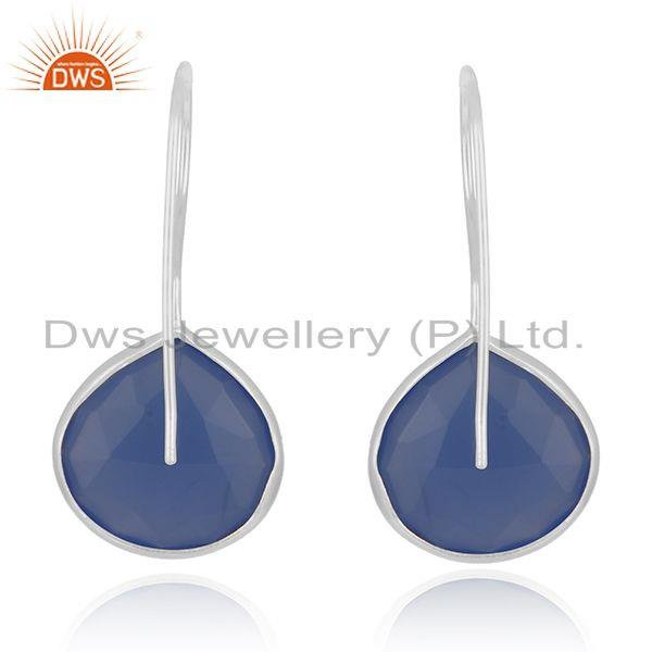 Suppliers Blue Chalcedony Gemstone Sterling Fine Silver Drop Earring Wholesale