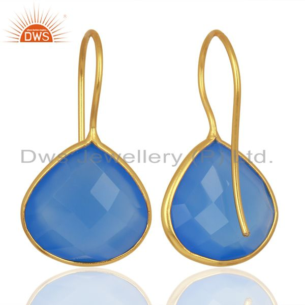 Suppliers Blue Chalcedony Heart Shape 92.5 Sterling Silver Gold Plated Drop Earring