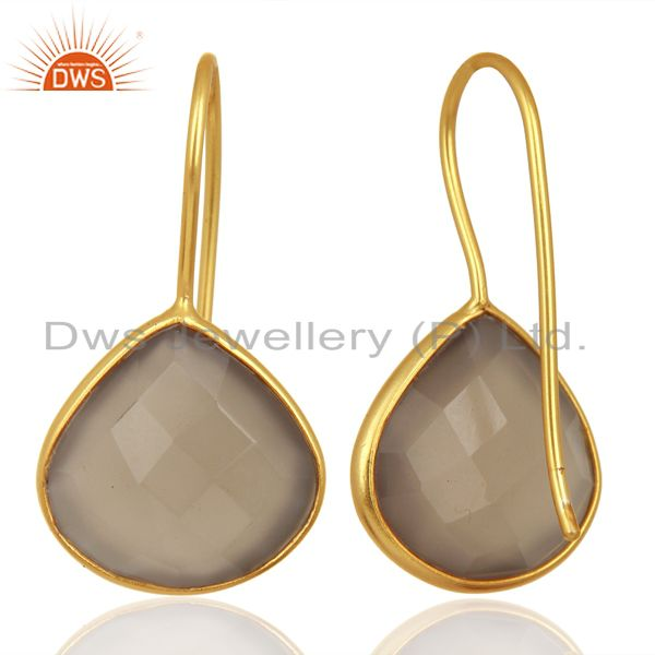 Suppliers Designer Gold Plated Silver Gray Chalcedony Gemstone Earring Jewelry