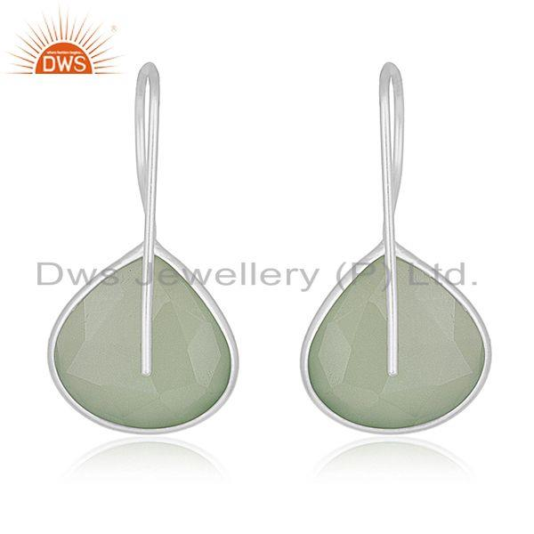 Suppliers Prehnite Chalcedony Gemstone 925 Sterling Silver Earring Manufacturers