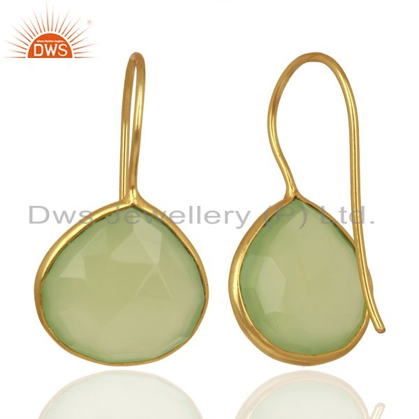 Suppliers Prehnite Chalcedony Heart Shape 92.5 Sterling Silver Gold Plated Drop Earring