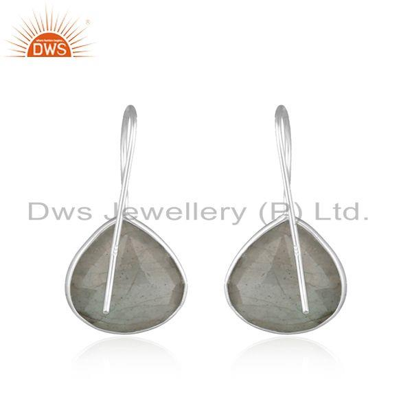Suppliers Labradorite Gemstone 92.5 Fine Silver Designer Hook Earrings Jewelry