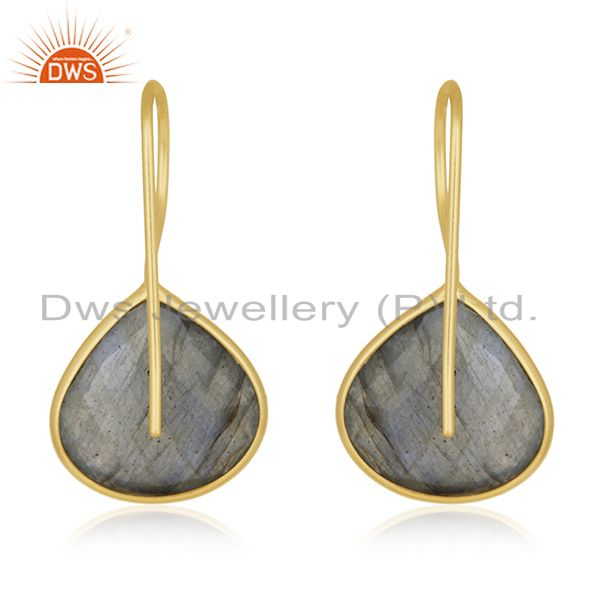 Suppliers 925 Silver Gold Plated Labradorite Gemstone Earring Manufacturer