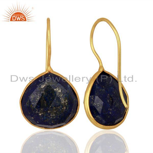 Suppliers Lapis Heart Shape 92.5 Sterling Silver Gold Plated Drop Earring