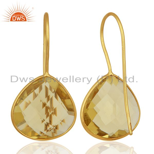 Suppliers Gold Plated Lemon Topaz Gemstone 925 Silver Fashion Earring Supplier
