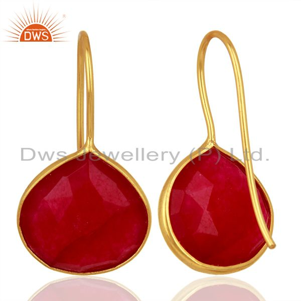 Suppliers Red Aventurine Gemstone Gold Plated Silver Handmade Earrings Jewelry