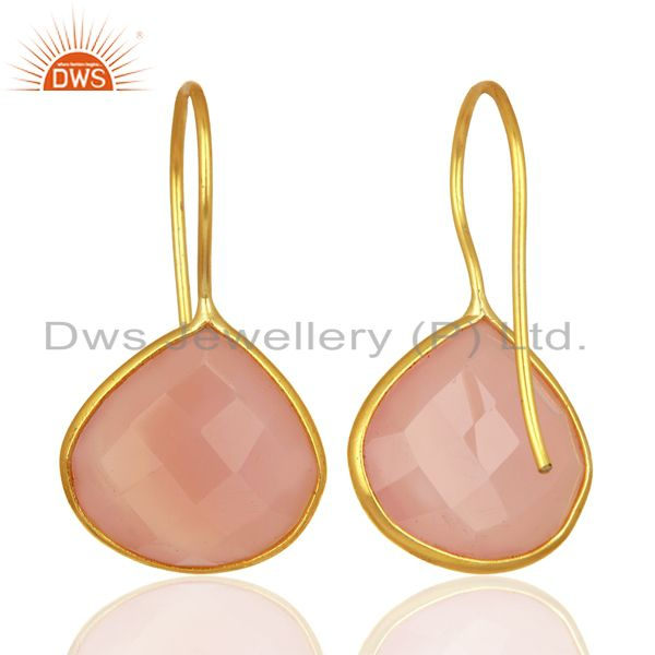 Suppliers Rose Chalcedony Gemstone Gold Plated 925 Silver Earrings Manufacturer