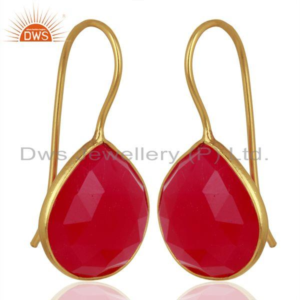 Suppliers Pink Chalcedony Gemstone Gold Plated Designer Silver Earrings Jewelry