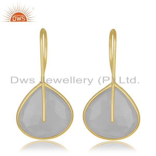 Suppliers Rainbow Moonstone Gemstone Designer Gold Plated Silver Earrings