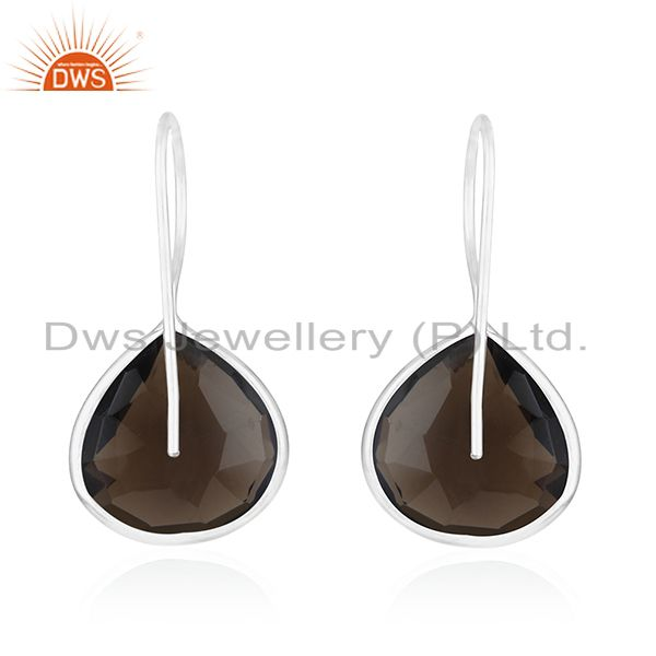 Suppliers Smoky Quartz 925 Sterling Silver Drop Earring Manufacturer of Custom Jewelry